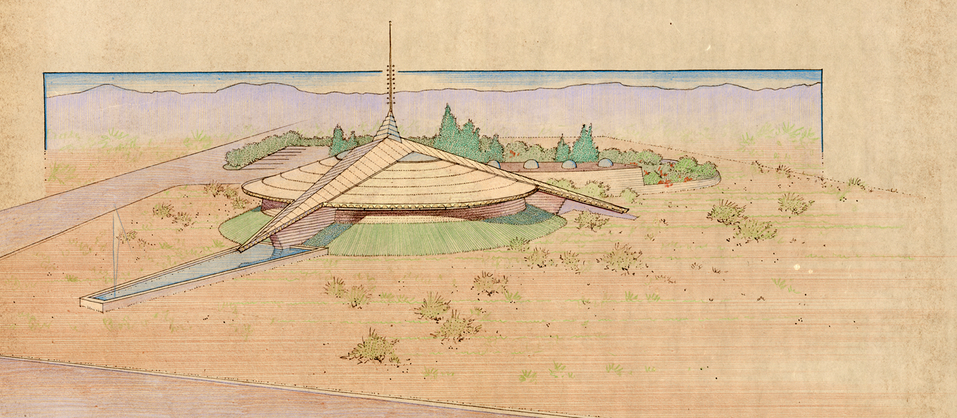 Tuscon Modernism Week - Rendering by John H. Howe for the screening of the film John H. Howe, Architect, Frank Lloyd Wright's Master of Perspective