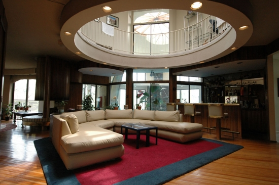 The family room offers a glimpse into the pool tower
