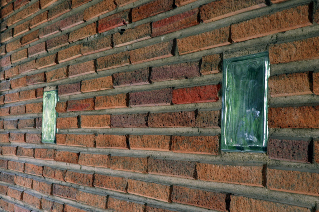 Glass brick on the side of the garage