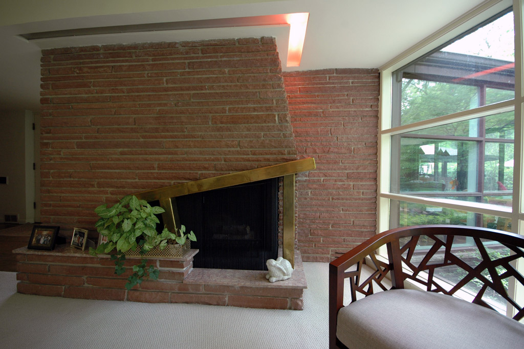 Close-up of the fireplace