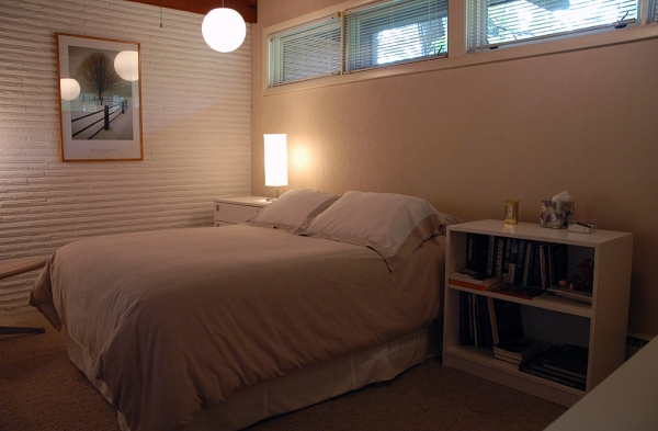 This bedroom was created by splitting the original, huge master bedroom into two smaller bedrooms.