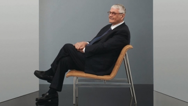 Charles Pollock on his new armless lounge chair