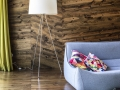 Pine cladding in the Living Room / Dining Room and the wood decks mirror the property's topographical survey