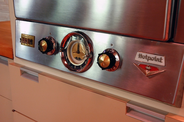 I couldn't resist a close-up of this fantastic Hotpoint oven, original to the kitchen. Since it still works and is smaller than anything that would replace it now, Lee & Rick decided to leave it when they remodeled the space.
