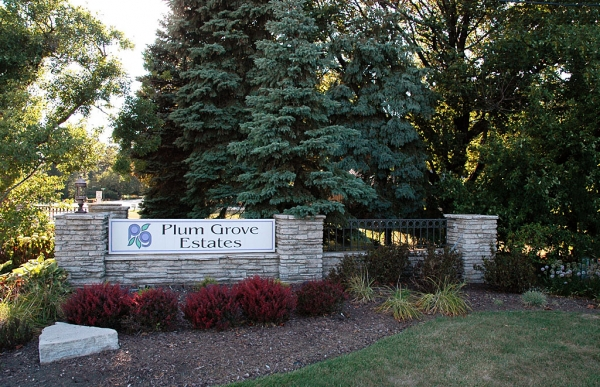 One of the entrances to Plum Grove Estates, showing the same stone used on the Briarwood bridge