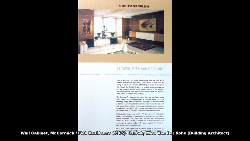 Wall Cabinet, McCormick / Fick Residence (1965) - Ronald Petralito - Architectural Designer - Ludwig Mies van der Rohe (Building Architect)
